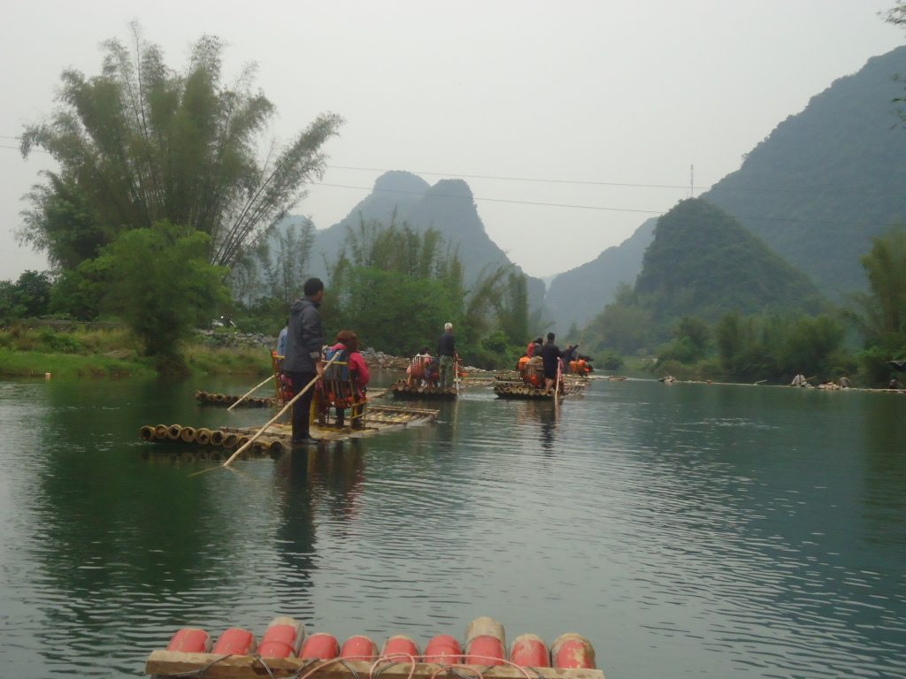 Travelling by raft along the Li River